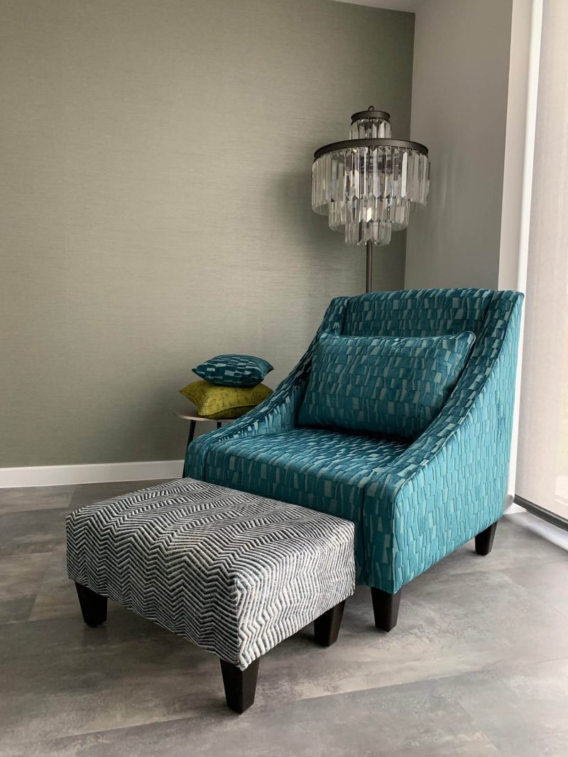 Chair and footstool with lamp
