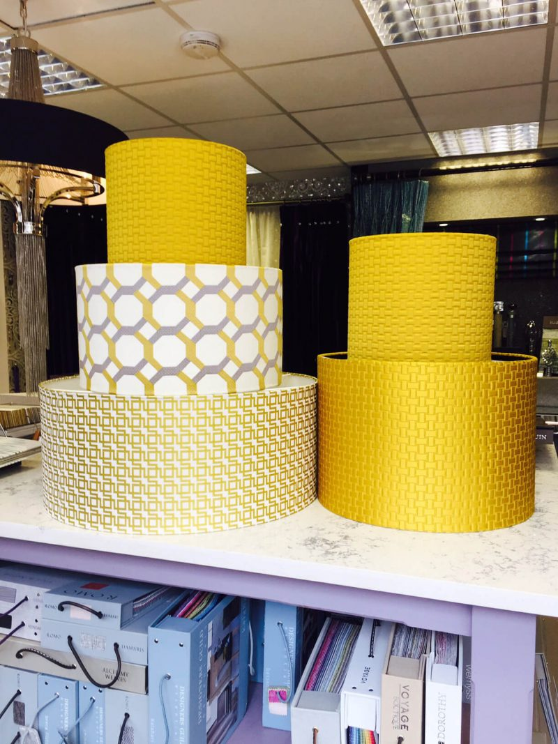 Collection of colourful lamp shades